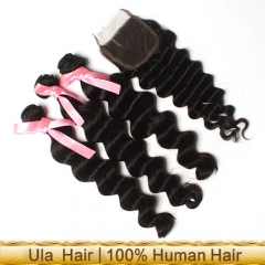 Ula Hair 7A Brazilian More Wave Virgin Hair 3pcs and 1pc Lace Closure Deal Human Hair Brazilian Hair Extensions