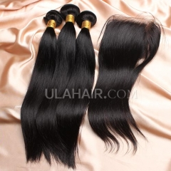 【14A 3pcs+closure】Brazilian Straight 3 Bundles & Lace Closure Free Shipping 12-32 inches