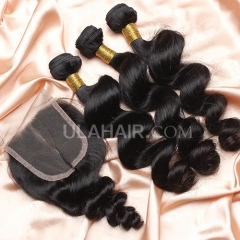 【14A 3pcs+closure】 Malaysian Loose Wave 3 Bundles & Lace Closure Free Shipping