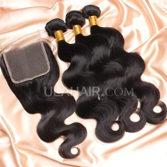 【14A 3pcs+closure】Malaysain Body Wave 3 Bundles & Lace Closure Free Shipping 12-32 inches