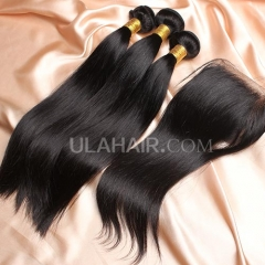 【14A 3pcs+closure】 Malaysian Straight 3 Bundles & Lace Closure Free Shipping