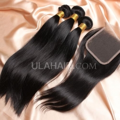 【14A 3pcs+closure】 Peruvian Straight 3 Bundles & Lace Closure Free Shipping