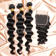 【8A 3pcs+closure】Ula Hair 8A Brazilian More Wave 3 Bundles & Lace Closure Free Shipping 12-32 inches