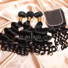 【14A 3pcs+closure】 Malaysian Loose Curl 3 Bundles & Lace Closure Free Shipping 12-32 inches