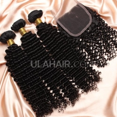 【14A 3pcs+closure】Peruvian Kinky Curly 3 Bundles & Lace Closure Free Shipping 12-32 inches