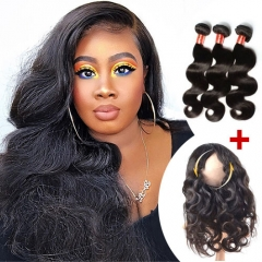 Ula Hair 13A Brazilian Body Wave 360 Lace Frontal  With Three Bundles Extension Super Deal 3+1 PC 360 Lace Frontal Closure Free Shipping