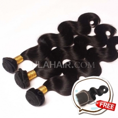 Promotion! Buy 3 Get 1 free 3 Bundles Set 13A Mlaysian Virgin Hair Body Wave Get 1 Lace Clousure Free Shipping