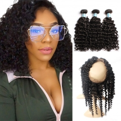 【13A 3PCS+Closure】Brazilian Deep Wave 360 Lace Frontal Closure With 3 Bundles Deep Wave Human Hair Free Shipping