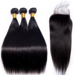 【13A 3PCS+Closure】Brazilian Straight Human Hair 3pcs and Lace Closure Deal Brazilian Virgin Hair Bundles