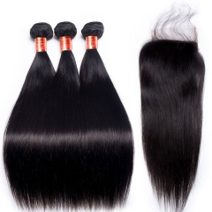 【12A 3PCS+Closure】Malaysian Straight Virgin Hair 3pcs with Lace Closure Virgin Hair Bundles Free Shipping
