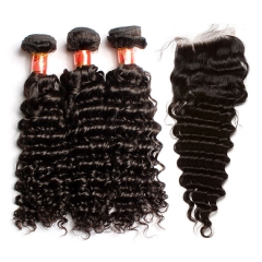【12A 3PCS+Closure】Brazilian Deep Wave Virgin Human Hair 3 Bundles with Lace Closure Unprocessed Ula Hair Free Shipping