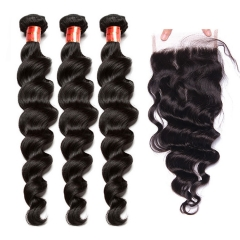 【12A 3PCS+Closure】Brazilian Loose Wave Virgin Human Unprocessed Hair 3pcs with Lace Closure Hair Bundles Free Shipping