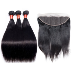 【12A 3PCS+Frontal】 Brazilian Straight Human Hair 3pcs and 1pc Lace Frontal Closure Brazilian Straight Human Virgin Hair Free Shipping