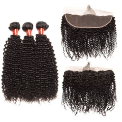 【12A 3PCS+Frontal】 Peruvian Deep Curly Human Hair 3pcs and 1pc Lace Frontal Closure Peruvian Curly Human Virgin Hair Free Shipping