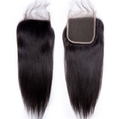 【12A】Brazilian Straight Hair 4*4 Lace Closure Middle/Free/Three Part Natural Color Human Unprocessed Hair