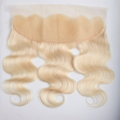 【13A】Free Shipping Lace Frontal Closure Body Wave 613# Blonde Color  Virgin Hair 13x4 Top Closure Human Hair