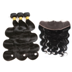 【13A 3PCS+Frontal】Malaysian Body Wave 100% Human Hair 3pcs and Lace Frontal Closure Malaysian Hair Virgin Hair