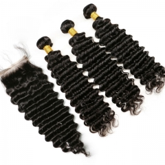 【13A 3PCS+Closure】 Deep Wave Virgin Malaysian Human Hair 3pcs and 1pc Hair Lace Closure Free Shipping Bundles with Closure