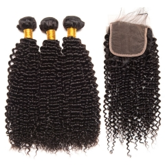 【13A 3PCS+Closure】 Malaysian Deep Curly Virgin Malaysian Human Hair 3PCS Bundles with 1PCS Lace Closure Free Shipping