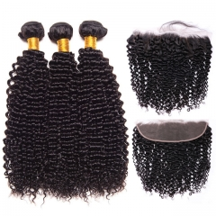 【13A 3PCS+Frontal】  Deep Curly Brazilian Human Hair 3PCS Bundles with 1PC Lace Frontal Closure Deal Hair Extensions Free Shipping