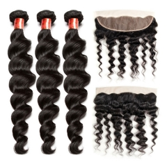 【12A 3PCS+Frontal】 Peruvian Loose Wave Human Hair Loose Wave 3pcs and 1pc Lace Frontal Closure Brazilian Loose Wave Human Virgin Hair Free Shipping