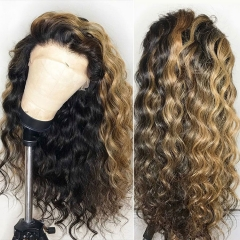 New Arrival! Customize in 15 days! 13A Mix Color 150% Density Loose curly Lace Frontal Wig 100% Human Virgin Hair Swiss Lace