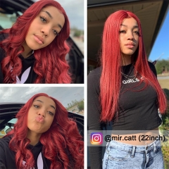 【In stock】 13A 99j Red Color Straight Lace Front Wigs 150% Density 13x4 Lace Size Virgin Human Hair Wigs Customize in 7 Days!