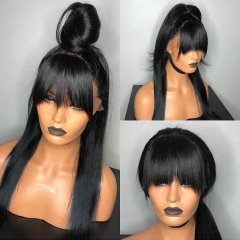 New Arrival! 13A 180% Density Full Straight 13x6 Lace Front Wigs With Bangs Virgin Human Hair Lace Wigs Customize for 7 days!