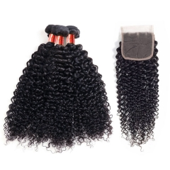 【12A 3PCS+Closure】Brazilian Jerry Curl Virgin Human Unprocessed Hair Bundles 3pcs with Lace Closure Free Shipping