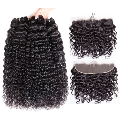 【12A 3PCS+Frontal】 Brazilian Italy Curl Human Hair 3pcs and 1pc Lace Frontal Closure Brazilian Italy Curl Human Virgin Hair Free Shipping