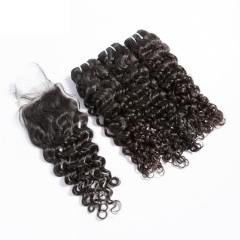 【12A 3PCS+Closure】 Peruvian Italy Curl Virgin Human Unprocessed Hair Bundles 3pcs with Lace Closure Virgin Hair Weave Free Shipping