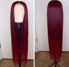 13A 99j Red Color Straight Lace Front Wigs 150% Density 13x4 Lace Size Virgin Human Hair Wigs Customize in 7 Days!