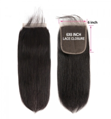 【12A】 Straight Hair 6*6 Lace Closure Middle/Free/Three Part Natural Color Human Unprocessed Hair