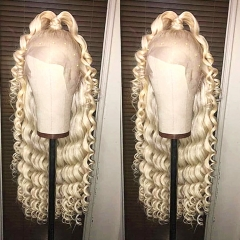 Customize for 7 days! 13A Grade 180% Density 613# Loose Curly Blonde Color Lace Front Wigs 13x4 Lace Size Virgin Human Hair Hand-tied Wigs